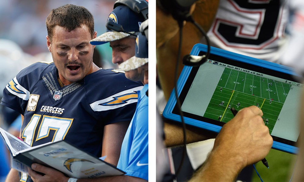 The Sideline Viewing System available on Microsoft Surface tablets offers coaches immediate and dynamic options for analyzing their opponents' strategy and formations during a game. For now, teams can still use photo printouts in binders. (AP Photo/Lynne Sladky) (AP Photo/David Drapkin)