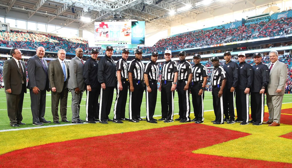 Members of the Super Bowl LIV officiating crew.
