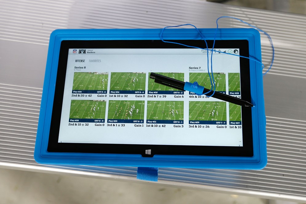 Microsoft Surface Pro tablets offer coaches immediate and dynamic options for analyzing their opponents' strategy and formations during a game. (AP Photo/Scott Boehm)