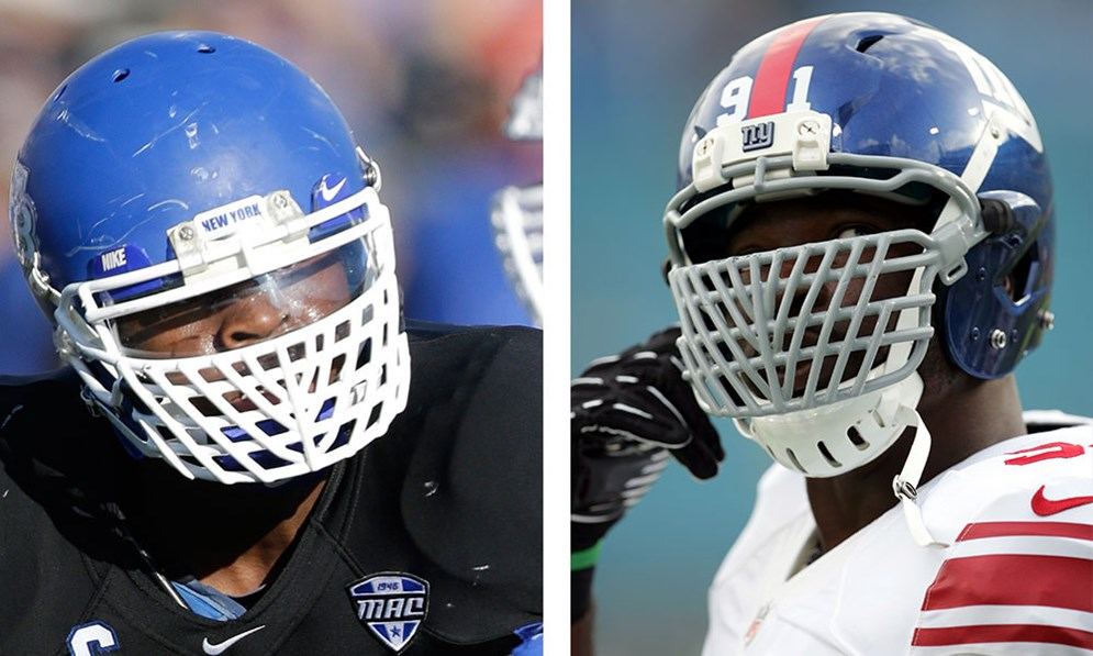 "The NFL denied Khalil Mack's request to continue using the ""overbuilt"" face mask he wore in college but granted Justin Tuck's request for a medical exemption, so he can keep wearing his. (AP Photo/Mike Groll) (AP Photo/Paul Jasienski)"