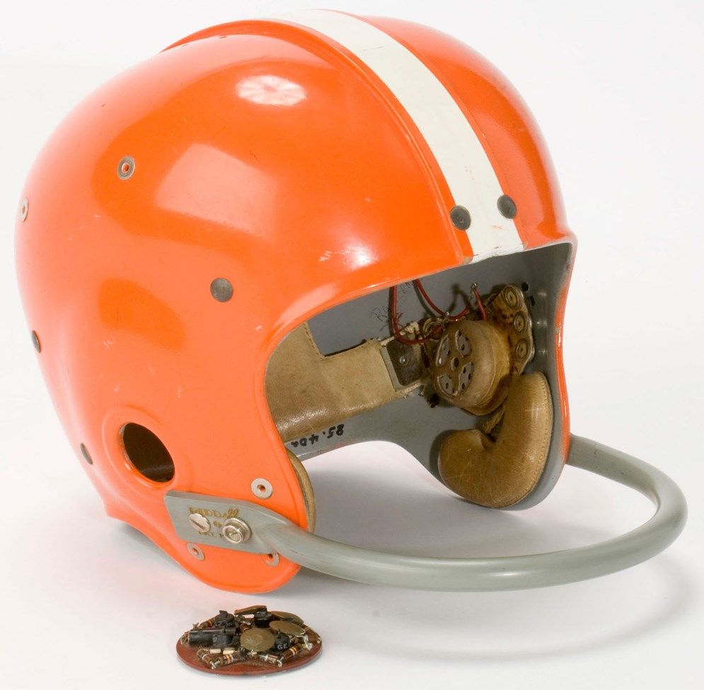 This radio helmet, which two Ohio inventors devised for Cleveland Browns coach Paul Brown in 1956 so he could radio plays in to his quarterback, was banned shortly after its first use. But the NFL embraced an improved coach-to-quarterback communications system nearly 40 years later. (Pro Football Hall of Fame)