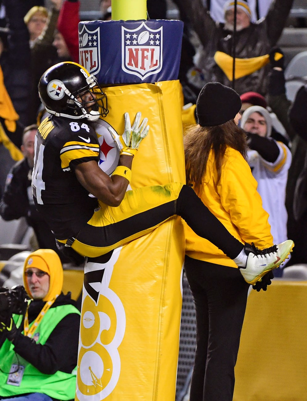 Pittsburgh Steelers wide receiver Antonio Brown was fined $11,576 for jumping on the goal post to celebrate a touchdown in a 2015 game against the Indianapolis Colts. Brown received an unsportsmanlike penalty for using the goalpost as a prop. (AP Photo/Fred Vuich, File)