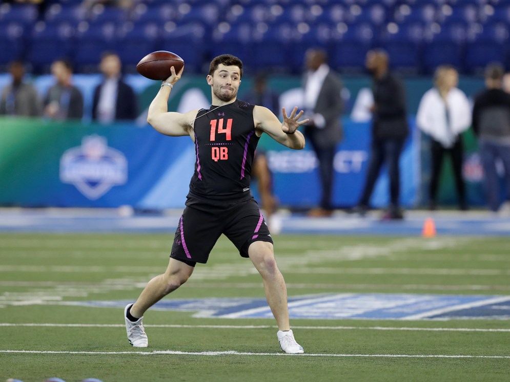 Cleveland Browns quarterback Baker Mayfield throws during a drill at the 2018 NFL Scouting Combine in Indianapolis. (AP Photo/Darron Cummings)