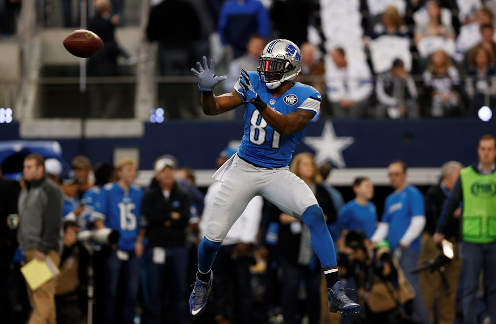 Detroit Lions wide receiver Calvin Johnson makes a catch during an NFL wild card playoff football game against the Dallas Cowboys at AT&T Stadium on Sunday January 4, 2015 in Arlington, Texas. Dallas won 24-20. (AP Photo/Aaron M. Sprecher)