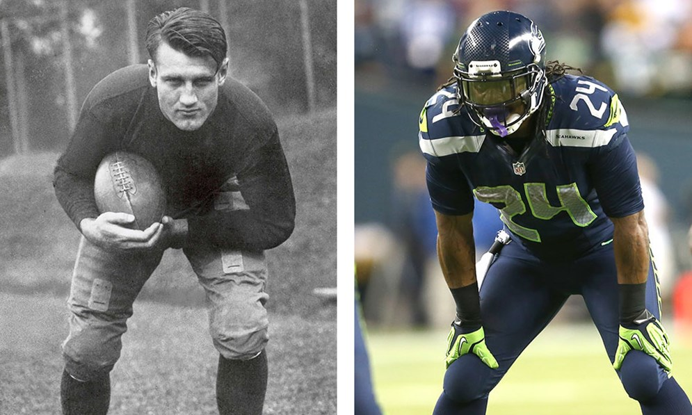 At 6 feet 2 inches and 226 pounds, 1930s Hall of Fame running back Bronko Nagurski was bigger and heavier than many of today's stars, like Seattle's Marshawn Lynch (5-11, 215), but he likely did not share some of their specialized skills, strengths and abilities. (Pro Football Hall of Fame) (AP Photo/Tom Hauck)