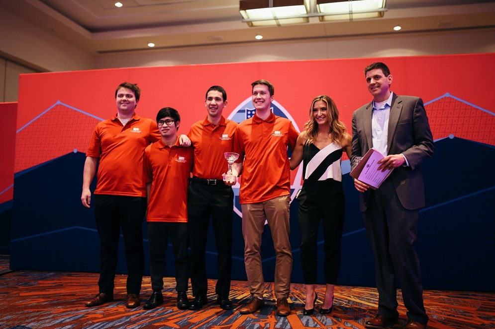 College entry winners from Simon Fraser University with emcee Cynthia Frelund and Mike Lopez, the NFL's Director of Football Data and Analytics