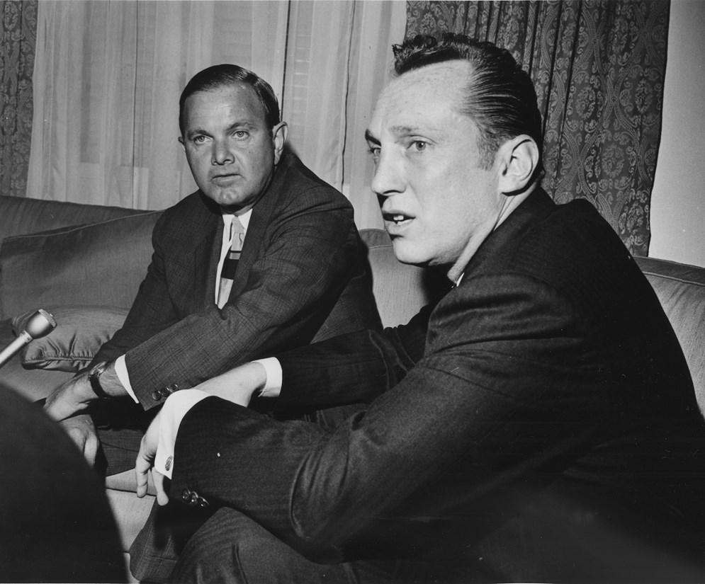 Pro Football Hall of Fame members Al Davis, owner of the Oakland and Los Angeles Raiders, right, and Ralph Wilson, owner of the Buffalo Bills, left, played important roles in the formation of the upstart AFL and the post-merger NFL. (AP Photo/Ed Kolenovsky)