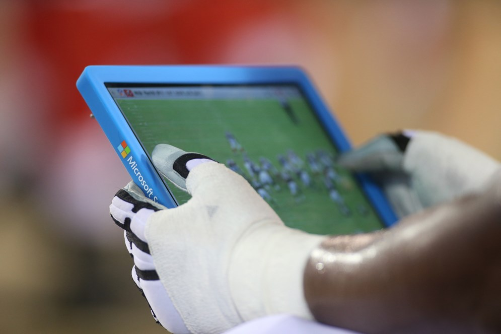 The Sideline Viewing System lets coaches easily analyze a series of plays, organize them by category or bookmark a play for later viewing. (AP Photo/Perry Knotts)