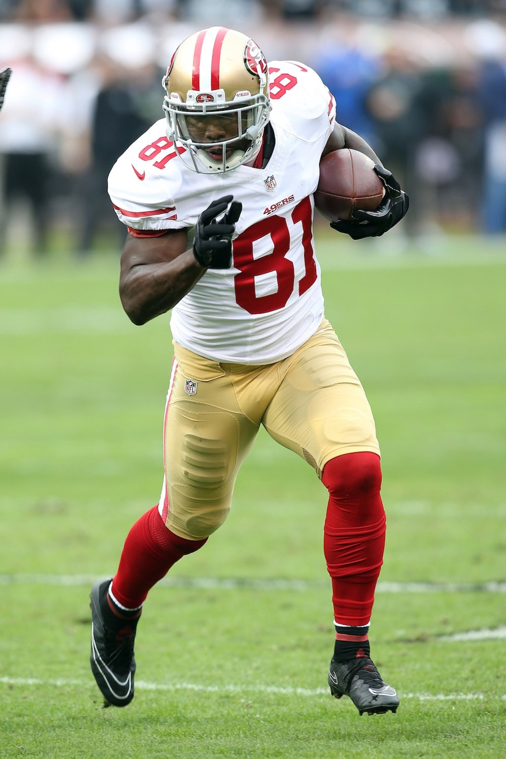 San Francisco 49ers wide receiver Anquan Boldin (81) against the Oakland Raiders during an NFL game at O.com Coliseum in Oakland, Calif. on Sunday, Dec. 7, 2014. (AP Photo/Michael Zito)