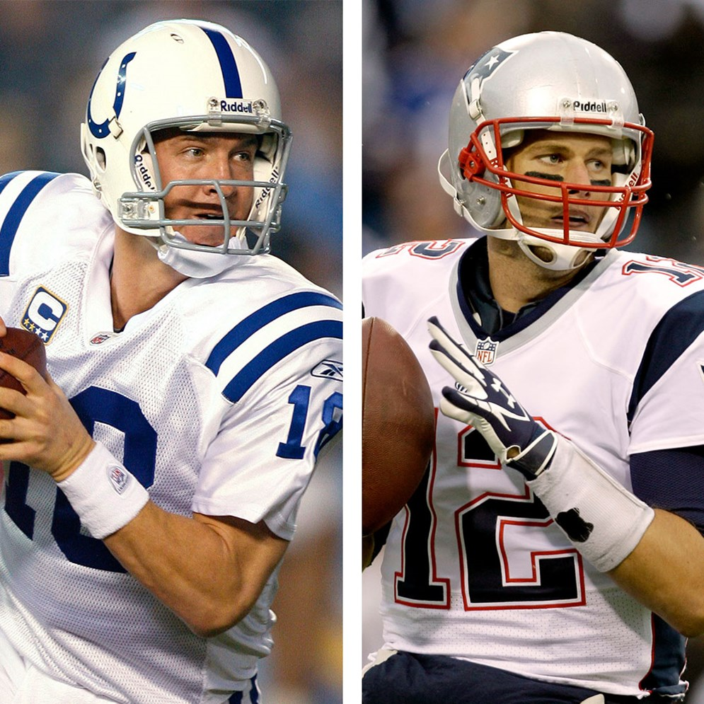 Peyton Manning, left, was selected in the first round with the first overall pick of the 1998 NFL Draft. Tom Brady, right, was selected in the sixth round with the 199th overall pick in the 2000 draft.
