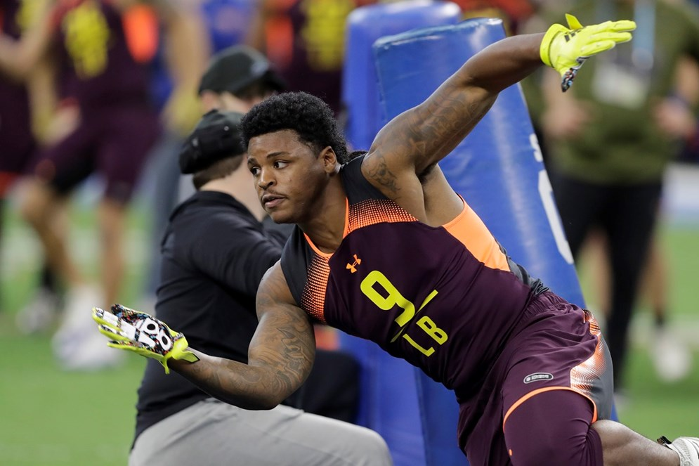 Pittsburgh Steelers linebacker Devin Bush runs a drill at the 2019 NFL Scouting Combine in Indianapolis. (AP Photo/Darron Cummings)