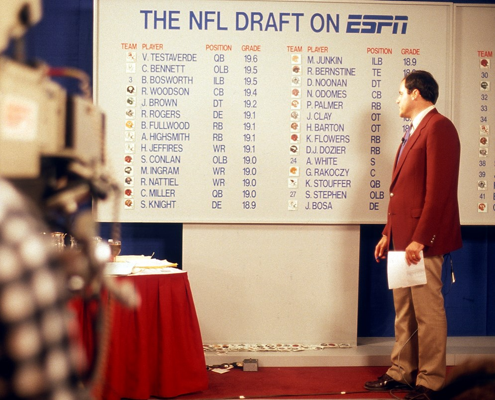 ESPN's Chris Berman looks at the draft board from the 1987 NFL Draft. ESPN halped make the NFL Draft a television event when it started broadcasting in in 1980. (AP Photo/Paul Spinelli)