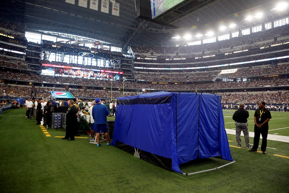 Beginning in the 2017 season, the NFL mandated medical tents on every sideline at every stadium. They're used for concussion testing or for quick medical work that does not require a trip to the locker room. (AP Photo/Michael Ainsworth, File)