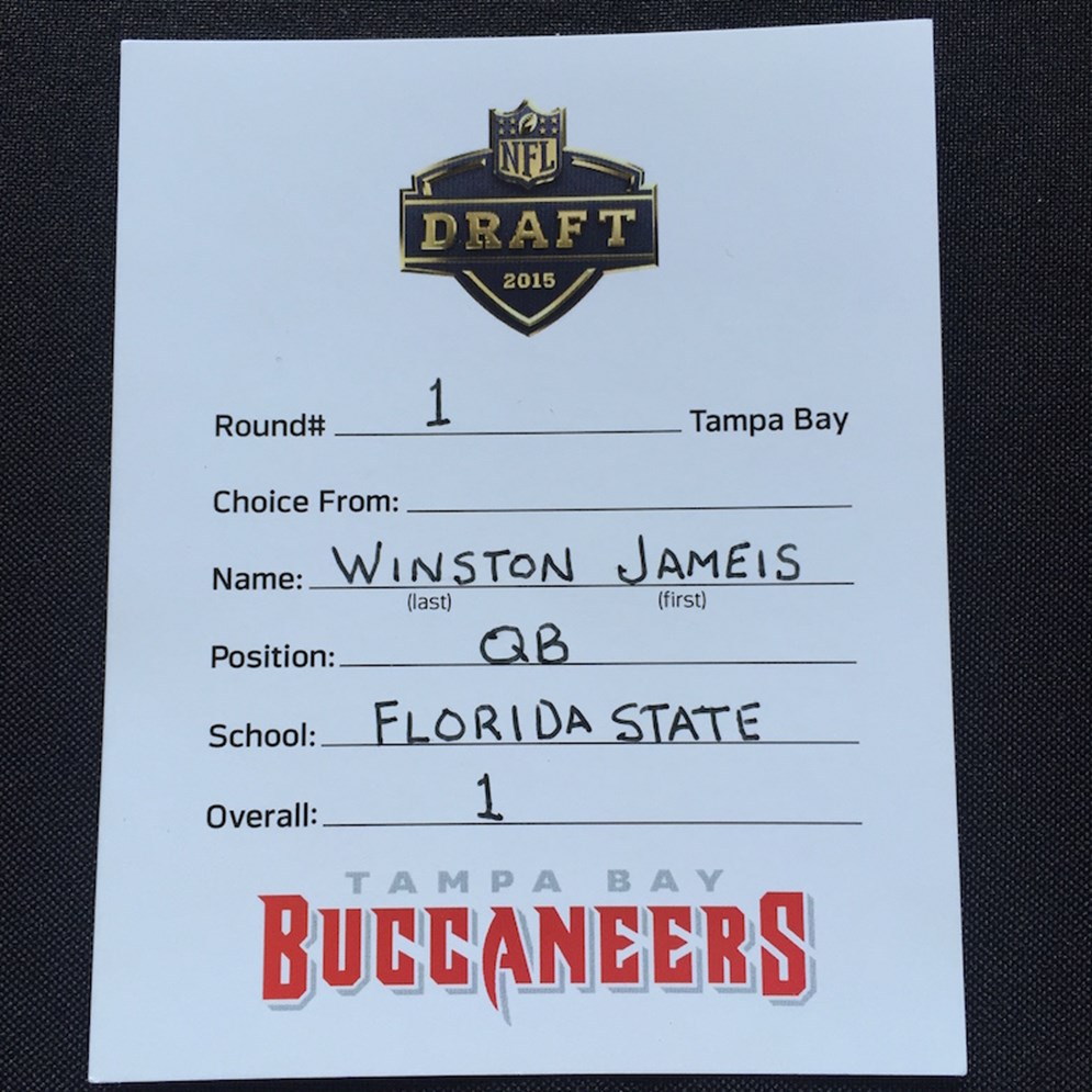 Official NFL Draft card submitted by the Tampa Bay Buccaneers when they selected Florida State QB Jameis Winston with the first overall pick of the 2015 NFL Draft.