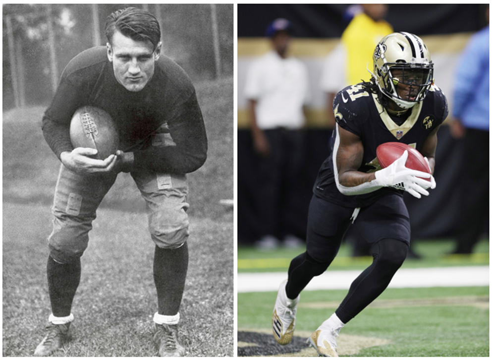 At 6 feet 2 inches and 226 pounds, 1930s Hall of Fame running back Bronko Nagurski was bigger and heavier than many of today's stars, like New Orleans' Alvin Kamara (5-10, 215), but he likely did not share some of their specialized skills, strengths and abilities. (Pro Football Hall of Fame) (Margaret Bowles via AP)