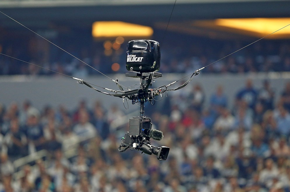 Skycam television camera is suspended above the field during a game between the Dallas Cowboys against the New York Giants at AT&T Stadium. (James D. Smith via AP)