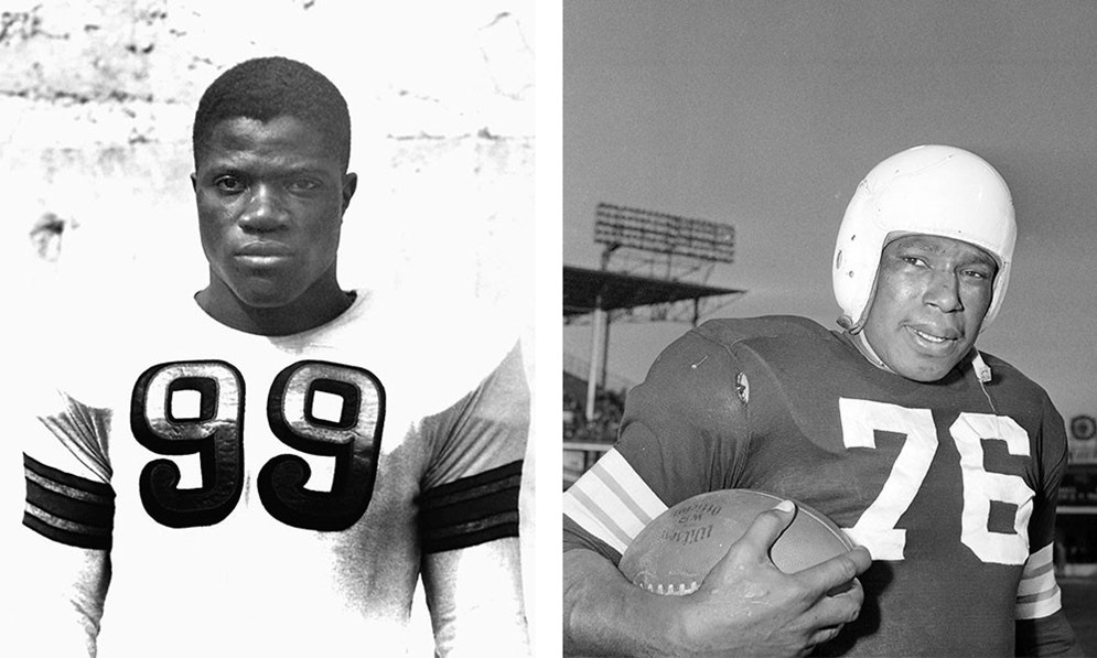 Hall of Famers Bill Willis, guard, and Marion Motley, back, both of the Cleveland Browns. (AP Photo/File) (AP Photo/Harry Hall)