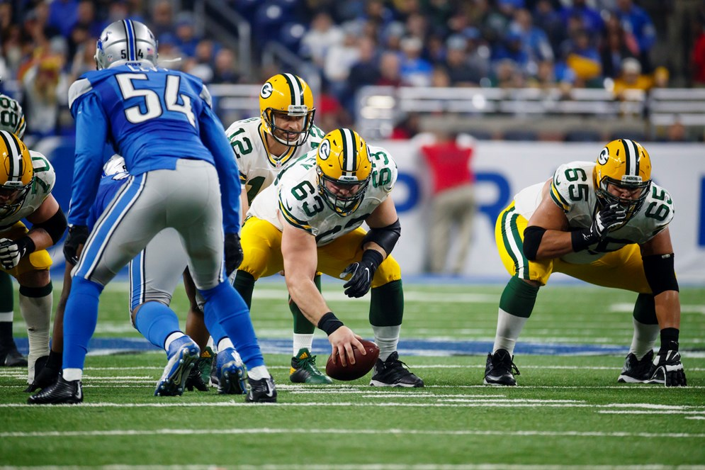 "In week 17 of the 2016 season, the game between the Detroit Lions and Green Bay Packers, which had playoff implications, was ""flexed"" to be shown on ""NBC Sunday Night Football."" (Rick Osentoski via AP Images)"