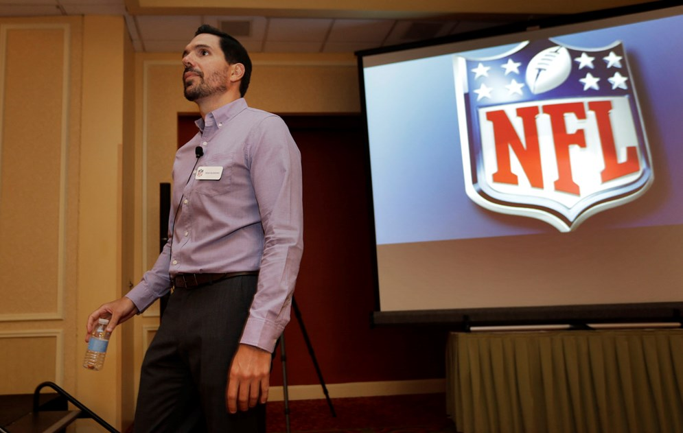 Dean Blandino, NFL vice president of officiating, during a training session at the 2014 NFL Officiating Clinic in Irving, Texas. (AP Photo/LM Otero, File)