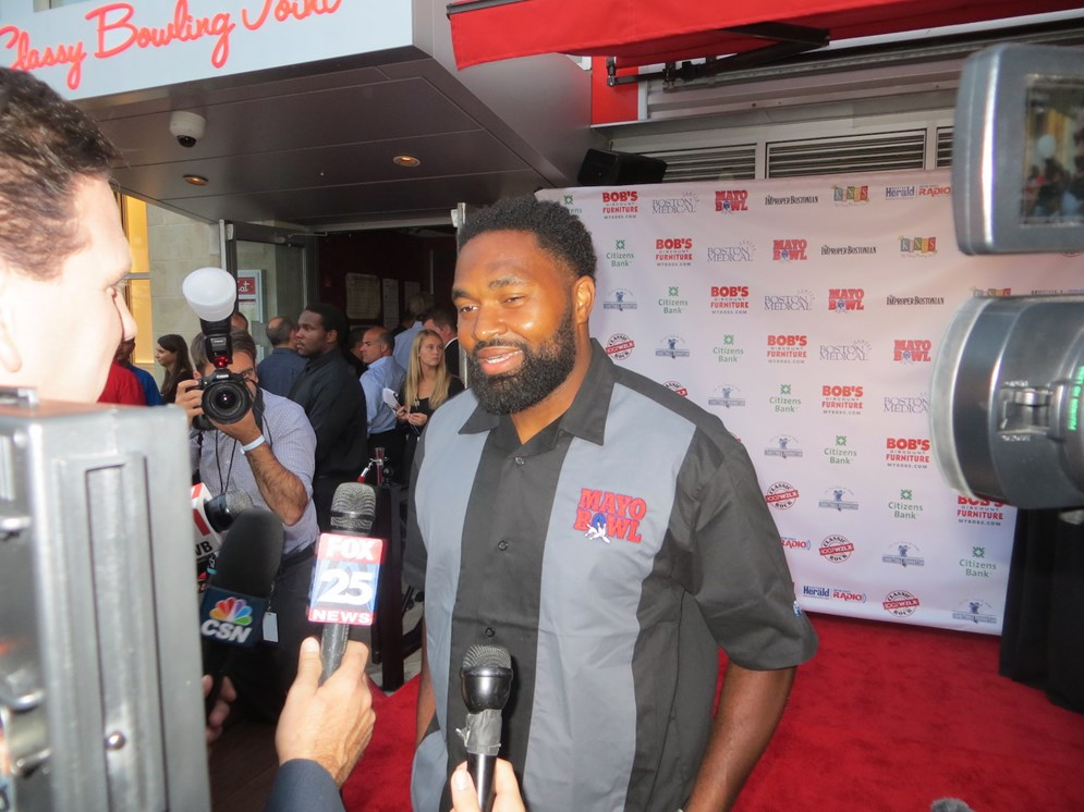 Jerod Mayo on the red carpet at his sixth annual Mayo Bowl event, which benefits the Boston Medical Center. (John Ingoldsby)