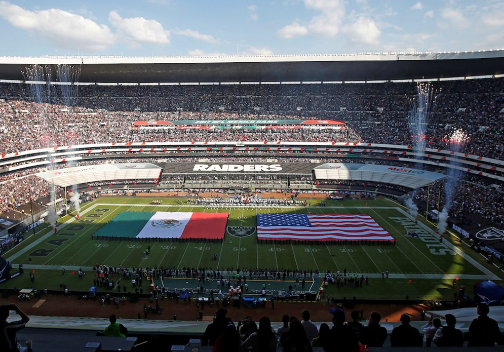 The Oakland Raiders hosted the New England Patriots at Azteca Stadium in Mexico City in 2017. (AP Photo/Dario Lopez-Mills)