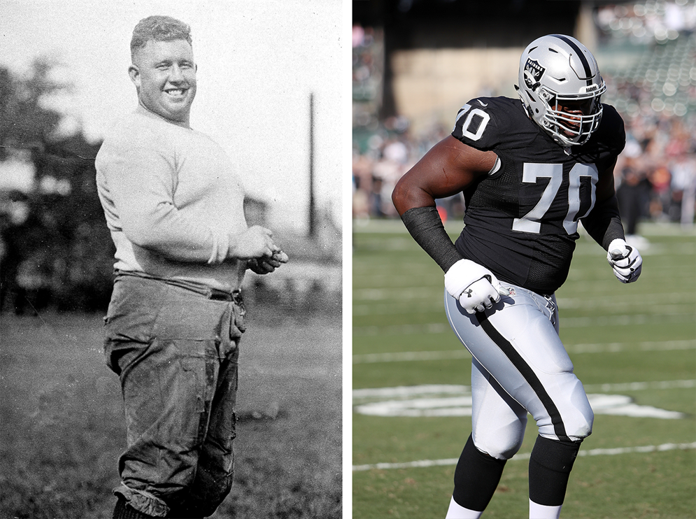 "Hall of Famer Wilbur ""Pete"" Henry, aka ""Fats,"" was one of the NFL's largest and most dominant linemen in the 1920s at 5 feet 11 inches and 245 pounds, but would be dwarfed by present-day players such as 6 foot 5 inch, 330-pound Oakland guard Kelechi Osemele. (Pro Football Hall of Fame) (AP Photo/Paul Spinelli)"