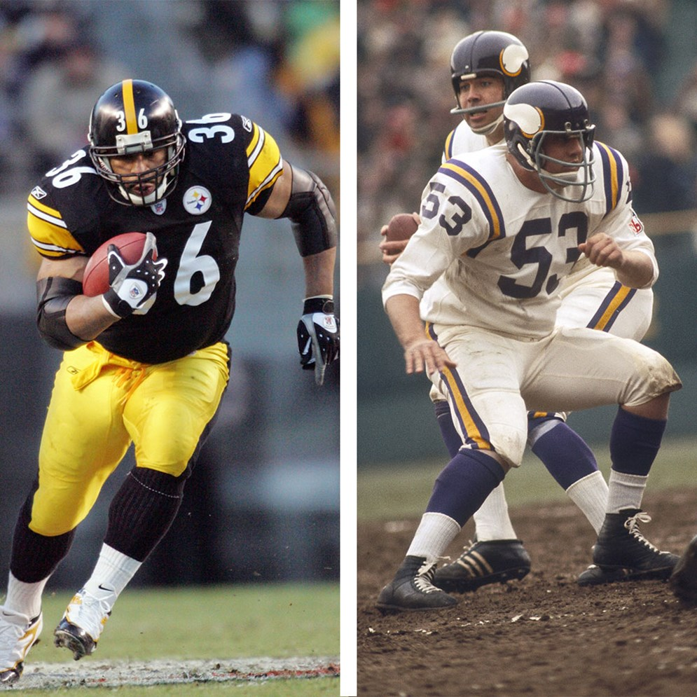 Hall of Fame Class of 2015 members Jerome Bettis (L) and Mick Tingelhoff (R).