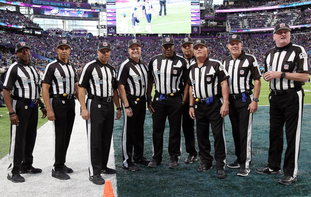 Members of the Super Bowl LII officiating crew. (Paul Spinelli via AP)