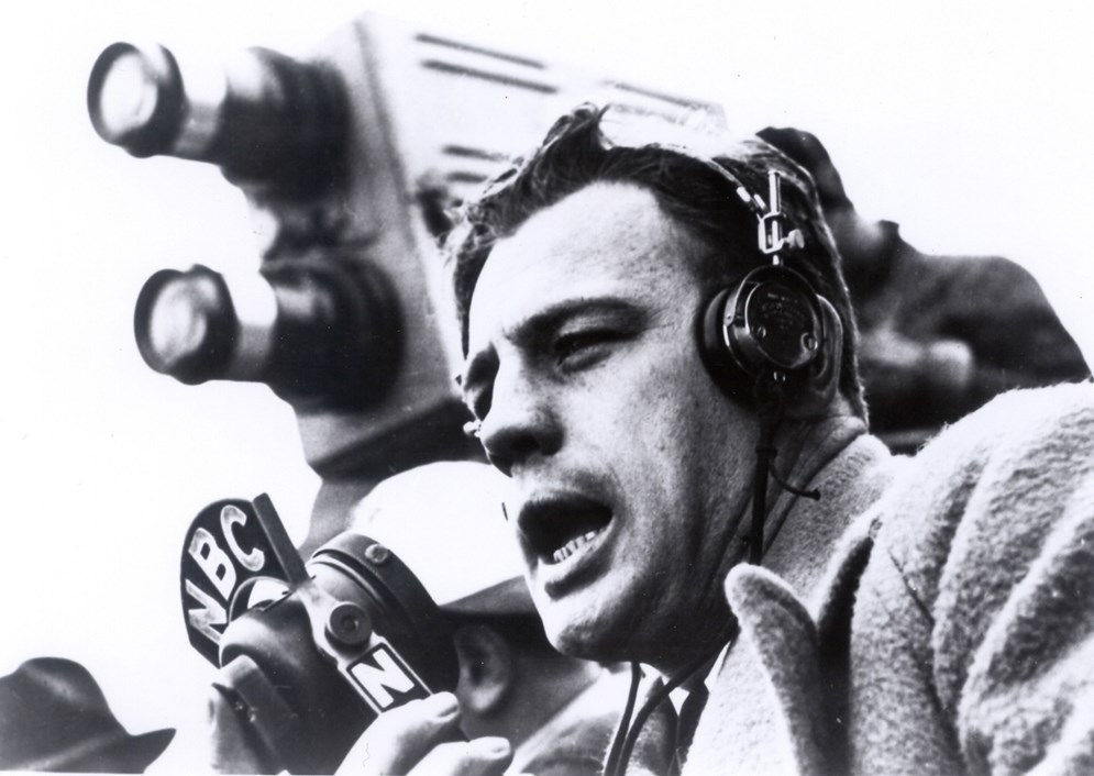 "NBC play-by-play announcer Allen ""Skip"" Walz used two cameras for the first-ever televised NFL game, including one that operated right over his shoulder in the stadium's mezzanine section. (Pro Football Hall of Fame)"