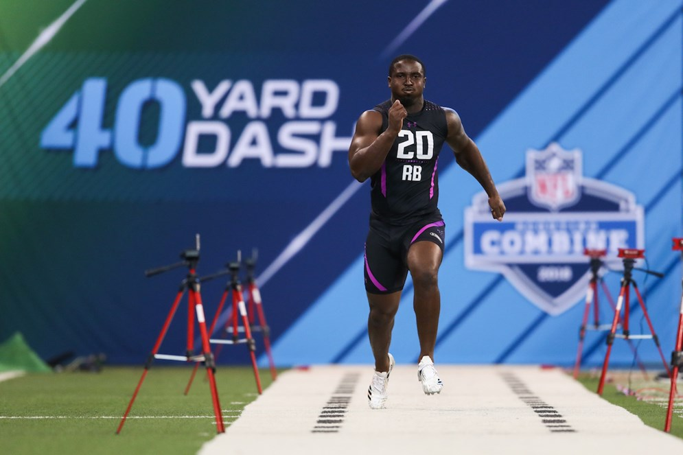 New England Patriots running back Sony Michel runs the 40-yard dash during the 2018 NFL Scouting Combine in Indianapolis. (Ben Liebenberg via AP)